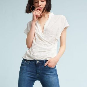 AKEMI + KIN Poplin Wrap Blouse Top in White